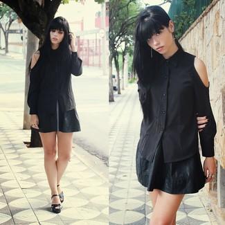 Skater Dress With Pu Skirt