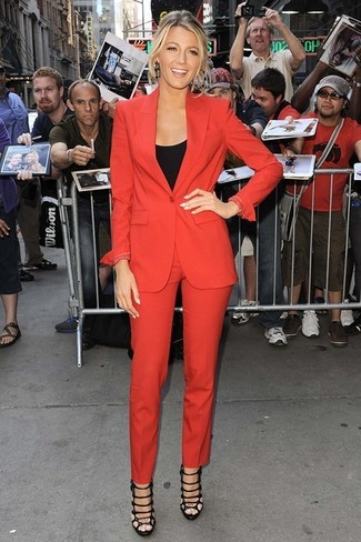 How to wear: black leather heeled sandals, black tank, red suit