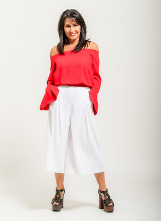 How to wear: black chunky leather heeled sandals, white culottes, red off shoulder top