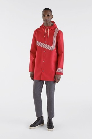 How to wear: black leather high top sneakers, grey chinos, red raincoat