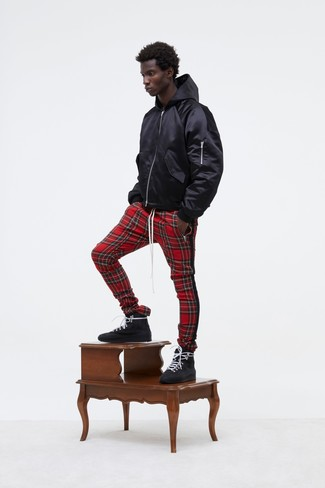 How to wear: black leather high top sneakers, red plaid sweatpants, black hoodie