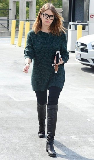 How to wear: black leather knee high boots, black skinny jeans, dark green print crew-neck sweater