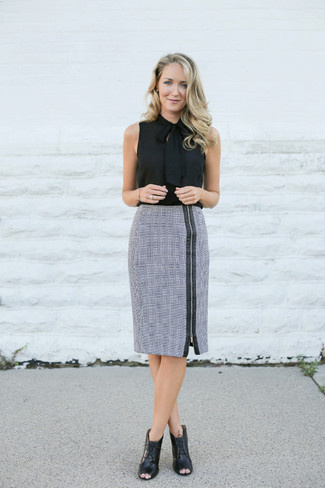 How to wear: black cutout leather lace-up ankle boots, grey plaid pencil skirt, black silk sleeveless top