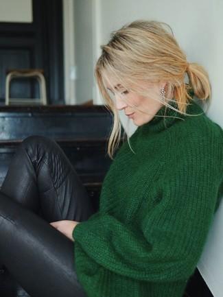 How to wear: black leather leggings, dark green knit turtleneck
