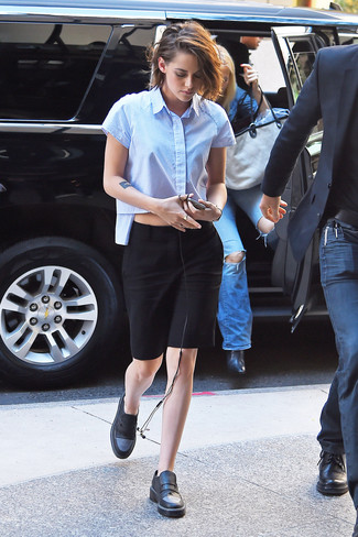 How to wear: black leather loafers, black pencil skirt, light blue short sleeve button down shirt