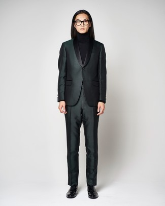 How to wear: black leather loafers, black turtleneck, dark green suit
