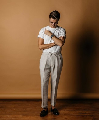 How to wear: black leather loafers, grey linen chinos, white crew-neck t-shirt