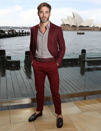 How to wear: black leather loafers, grey long sleeve shirt, burgundy suit