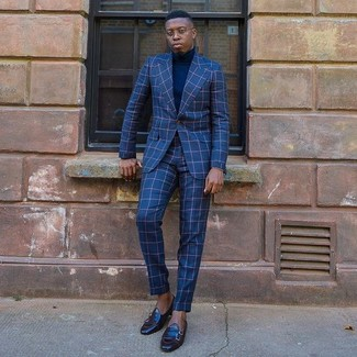 How to wear: black leather loafers, navy turtleneck, blue check suit