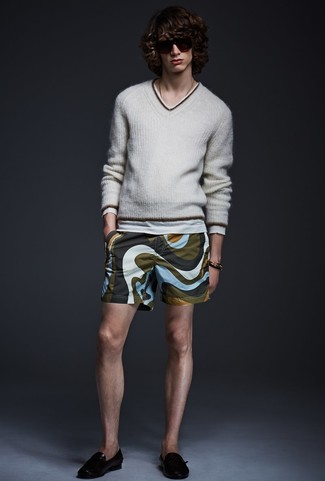 How to wear: black leather loafers, olive print shorts, grey v-neck sweater