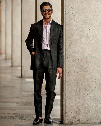 How to wear: black leather loafers, pink long sleeve shirt, black suit