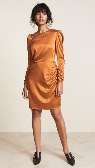 How to wear: black leather mules, orange silk sheath dress
