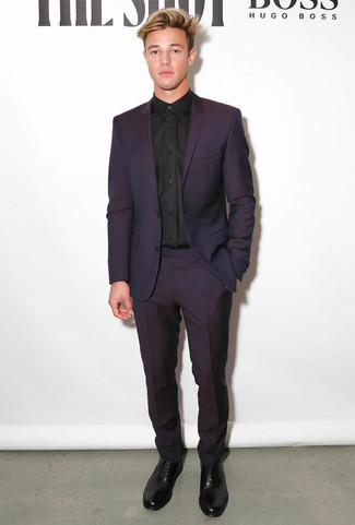 How to wear: black leather oxford shoes, black dress shirt, dark purple suit