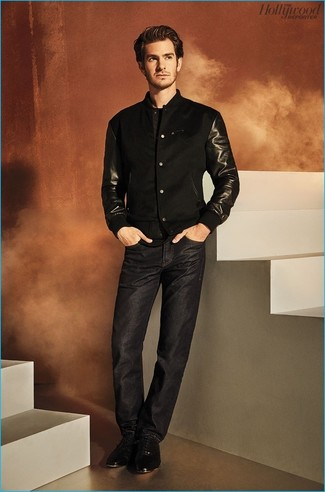 How to wear: black leather oxford shoes, black jeans, black bomber jacket