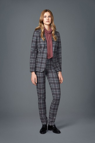 How to wear: black leather oxford shoes, burgundy print long sleeve blouse, grey plaid suit