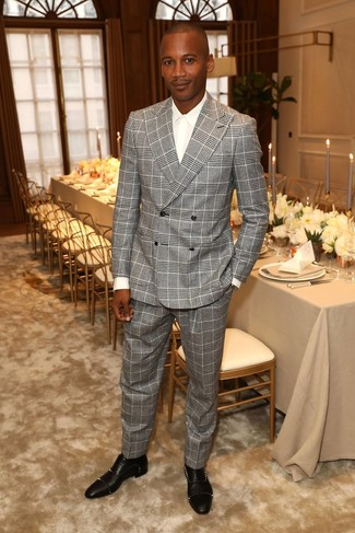 How to wear: black studded leather oxford shoes, white dress shirt, grey plaid suit