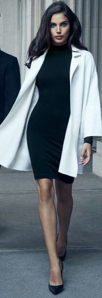 How to wear: black leather pumps, black bodycon dress, white coat