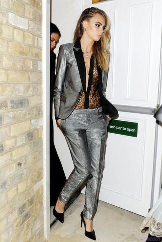 How to wear: black leather pumps, black lace button down blouse, silver suit