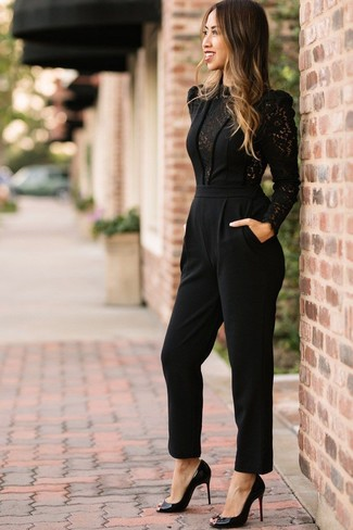 c99c5909134 Yas Tall Lacey Long Sleeve Jumpsuit With Lace Side Panels
