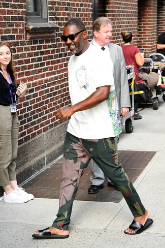 How to wear: black leather sandals, dark green camouflage chinos, white print crew-neck t-shirt