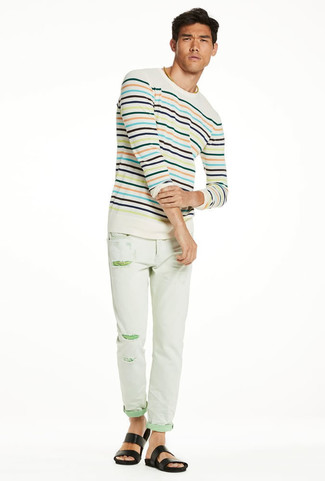 How to wear: black leather sandals, mint ripped skinny jeans, beige horizontal striped crew-neck sweater