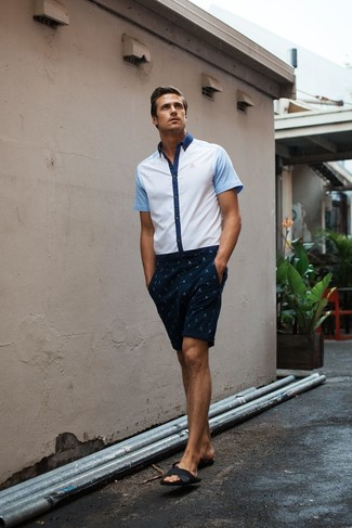 How to wear: black leather sandals, navy print shorts, white short sleeve shirt