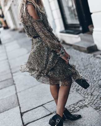 How to wear: black quilted leather satchel bag, black studded leather ankle boots, black floral chiffon midi dress