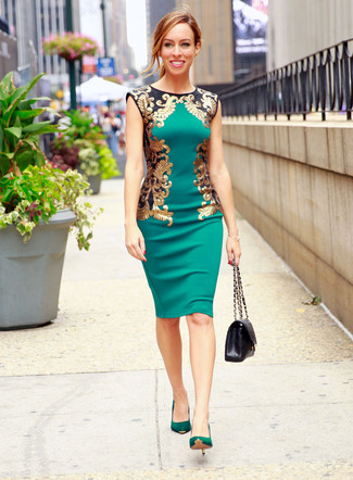 How to wear: black quilted leather satchel bag, green suede pumps, green sheath dress