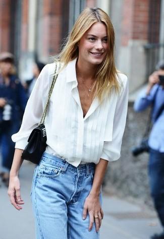 ef1fc5ad ... Women's Black Leather Satchel Bag, Light Blue Boyfriend Jeans, White Silk  Button Down Blouse