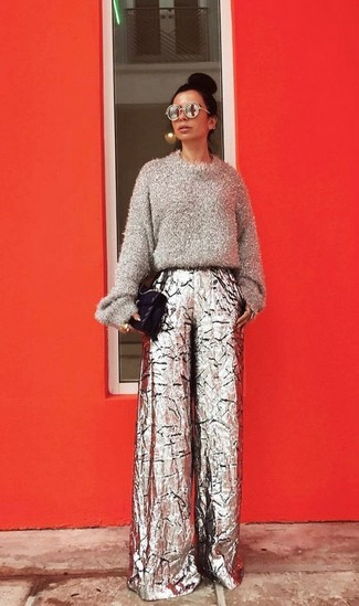 How to wear: black quilted leather satchel bag, silver wide leg pants, grey fluffy crew-neck sweater