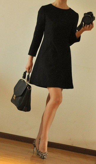 How to wear: black leather satchel bag, tan leopard calf hair pumps, black shift dress