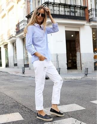 How to wear: black leather slip-on sneakers, white ripped boyfriend jeans, light blue dress shirt