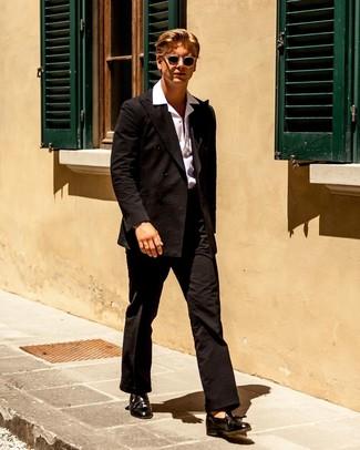 How to wear: black leather tassel loafers, white short sleeve shirt, black seersucker suit