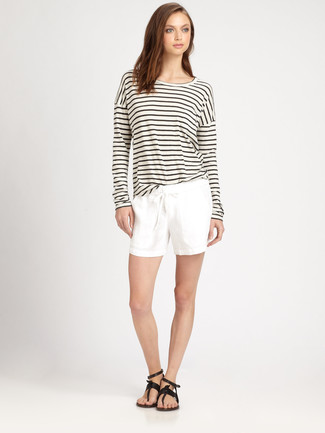 How to wear: black leather thong sandals, white shorts, white and black horizontal striped long sleeve t-shirt