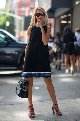 How to wear: black leather tote bag, red leather heeled sandals, black embroidered shift dress
