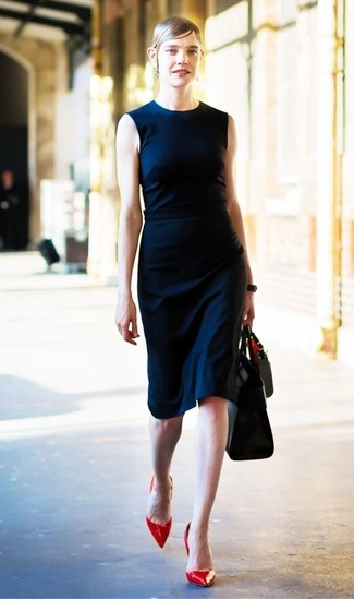 How to wear: black leather tote bag, red leather pumps, navy sheath dress