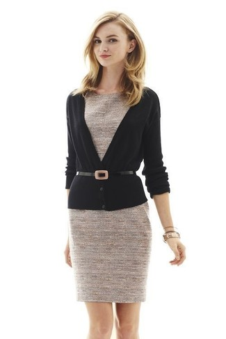 How to wear: black leather waist belt, beige tweed sheath dress, black cardigan