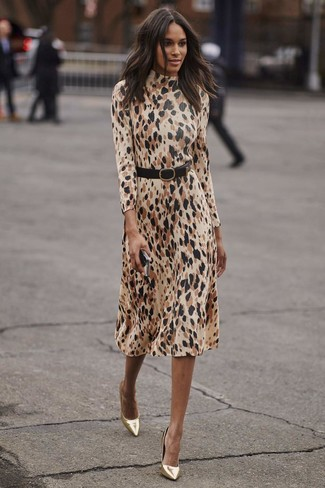 How to wear: black leather waist belt, gold leather pumps, beige leopard midi dress