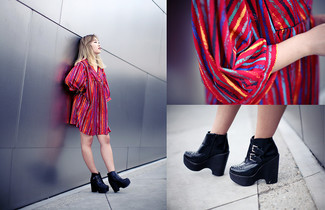 How to wear: black leather wedge ankle boots, multi colored vertical striped swing dress