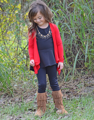 How to Wear Brown Uggs For Girls: Your little girl will look adorable in a red cardigan and black leggings. Brown uggs are a good choice to complete this style.