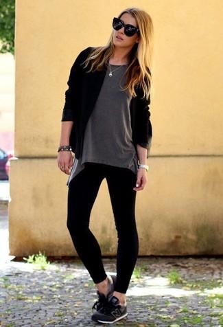 How to wear: black athletic shoes, black leggings, grey crew-neck t-shirt, black open cardigan