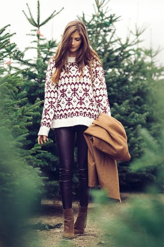 How to wear: olive suede ankle boots, black leather leggings, white fair isle crew-neck sweater, camel coat