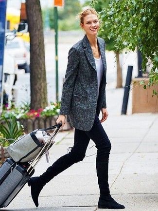 How to wear: black suede over the knee boots, black leggings, white crew-neck t-shirt, charcoal blazer