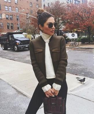 How to wear: burgundy leather satchel bag, black leggings, white turtleneck, dark brown bomber jacket