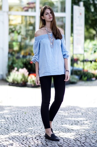 How to wear: silver necklace, black suede loafers, black leggings, light blue off shoulder top