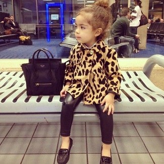 How to wear: black loafers, black leggings, tan leopard coat