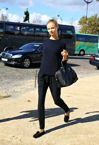 How to wear: black leather tote bag, black suede loafers, black pajama pants, navy crew-neck sweater