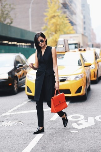 How to wear: orange leather satchel bag, black leather loafers, black skinny pants, black tuxedo dress