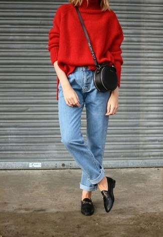 How to wear: black leather crossbody bag, black leather loafers, light blue jeans, red knit turtleneck