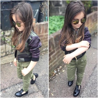 How to wear: olive sunglasses, black loafers, olive jeans, olive camouflage jacket